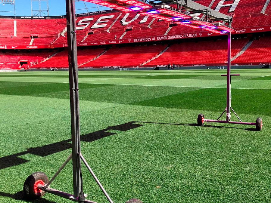 El Sevilla CF prueba el sistema Progrow en el Estadio Sánchez Pizjuán