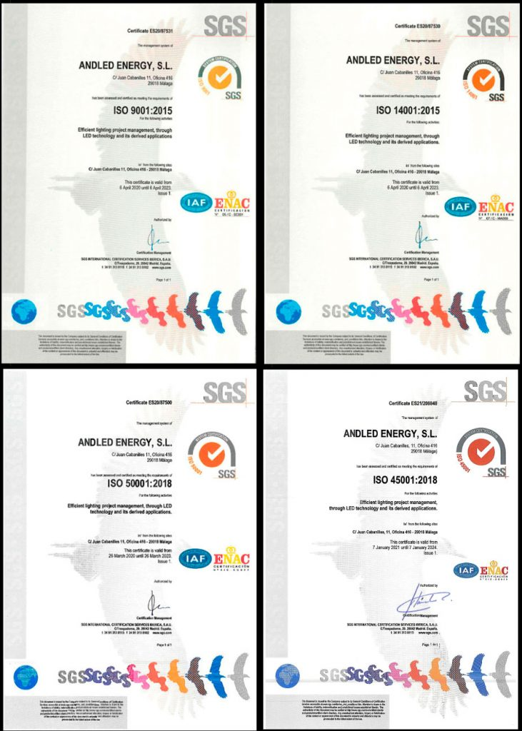 Andled ISO certificates